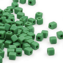25 Grams Miyuki Opaque Frost Green 3.5-3.7mm Square Glass Seed Beads (SB411F)