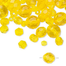 100 Czech Fire Polished Glass Faceted Round Beads ~ Jonquil Yellow Mix