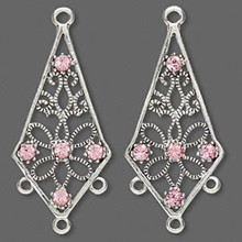 2 Antiqued Silver Pewter Earring Kites with Lt Rose Swarovski Crystals ~ 34x18mm*