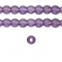 1 Strand Glass Round Transparent Purple Beads ~ 6mm *