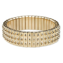 1 Gold Stainless Steel Cha Cha Stretch Bracelet Base ~ 3 Rows