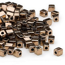 25 Grams Miyuki Opaque Metallic Dark Gold 3.5-3.7mm Square Glass Beads (SB457)