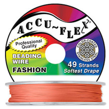 "30 Foot Spool  49 Strand Accu-flex Tangerine Orange 0.019"" Diameter Beading Wire"
