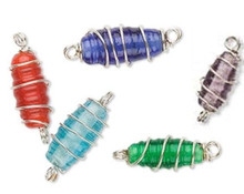 25 Silver Plated Brass Wire Wrapped Glass Bead Mix  ~ 21x7mm