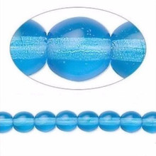 1 Strand Czech Glass Transparent Turquoise Blue Round Beads ~ 6mm