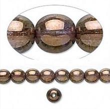 1 Strand Czech Glass Round Translucent Copper Lustre Beads ~ 6mm