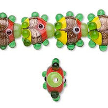 10 Tropical Lime Gr Bumpy Fish Glass Beads ~17x16mm-19x20mm