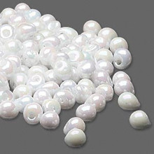 10 Grams  Fringe Beads Glass Opaque Rainbow White  ~ 4x3.4mm