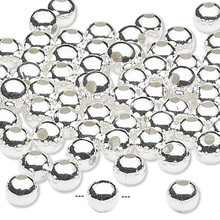 100 Silver Plated Brass Smooth 5mm Round Beads