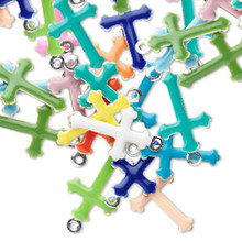 120 Silver Plated Epoxy Cross  Charms Mix  ~17x10mm