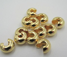 100 Gold Plated Brass 5mm Crimp Covers to Hide Crimps & Knots