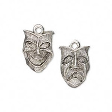 2 Antiqued Pewter Harlequin Comedy Tragedy Mask Charms ~ 16x12mm  *