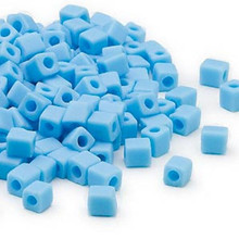 25 Grams Miyuki Opaque Frost Light Blue 3.5-3.7mm Square Glass Beads (SB413F)