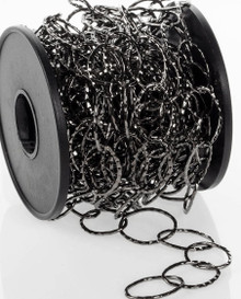 16.4 Foot Spool Gunmetal Hammered Oval Bulk Chain with 14x20mm Links