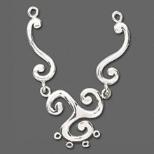 1 Sterling Silver 6-Loop Triangular Swirl Focal Component ~ 80x20mm *