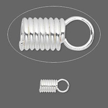 40 Silver Plated Steel Spring Cord Ends ~ 11x5.5mm Finishing Coils