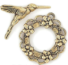 4 Sets Antiqued Gold Plated Hummingbird Toggle Clasps  *