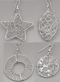 4 Pair Silver Plated Steel Wire Wrapped Earrings ~ Great Base! *