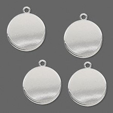 4 Heavy Silver Plated Steel Round Charm Drops ~ 17x15mm