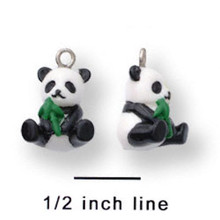 4 Adorable Resin White Black PANDA Bear Charms 3D CUTE!