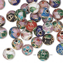 36 Gold Plated & Silver Plated Cloisonne Round 8mm Bead Mix