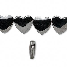 "16"" Strand Hemalyke Metallic Black Heart Bead ~ 12mm ~ Side Drilled"