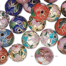 36 Gold & Silver Plated Cloisonne Round Beads Mix ~ 12mm