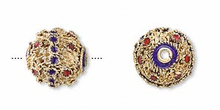 4 Gold Plated Red & Purple Blue Cloisonne Round 12mm Beads  *