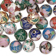 36 Gold Plated & Silver Plated Cloisonne Round Bead Mix ~ 10mm