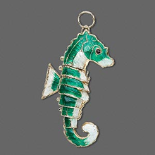 1 Moving Gold Plated Green Seahorse Cloisonne Pendant  ~ 27x54mm *