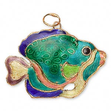 2 Gold Plated Puffed Aqua Multi Colored Fish Cloisonne Pendants  ~ 45x30mm *