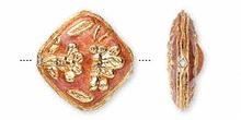 4 Gold Plated Rust Diamond Flower Bee Cloisonne Beads ~ 18x18mm *