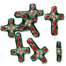 6 Gold Plated Red & Green Cloisonne Cross Beads ~27x18mm  *