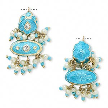1 Gold Plated Turquoise & White Minakari Focal Drop Charm ~ 38x18mm *