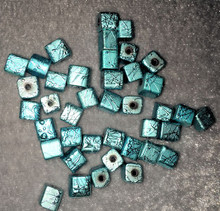45 Textured Aqua Blue Glass Cube Beads  ~ 6x6mm  *