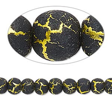 2 Strands Desert Sun Gold Plated & Black Round Glass Beads 6mm  *