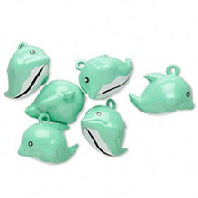 6 Adorable GREEN Dolphin Bell Charms ~ 25x18mm  *