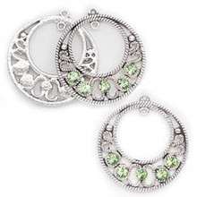 3 Antique Silver Go-Go Drops with Swarovski Peridot Crystals *