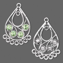 2 Antiqued Silver Pewter Teardrop Earring Connector with Swarovski Peridot Crystals
