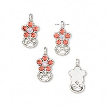 4 Silver Plated Pewter Flower Charms with Swarovski Hyacinth Crystals *