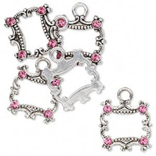 5 Antiqued Silver Steel Open Square Drops with Swarovski Pink Crystals  *