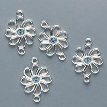 4 Silver Plated Pewter Flower Links with Swarovski Aquamarine Crystals *
