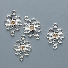 4 Silver Plated Pewter Flower Links with Swarovski Coloradeo Topaz Crystals *