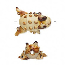 4 Brown Toad Frog Lampwork Glass Beads  ~  23x16x11mm