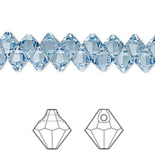 12 Swarovski Crystal Aquamarine 6mm Top Drilled Bicone Beads ~ 6301