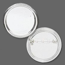 2 Silver Plated Steel 35mm Round Pin Back with 28mm Setting