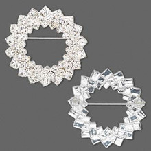 1 Silver Plated & Clear Rhinestone Triple Circle Brooch Pin ~ 36mm  *