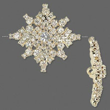 1 Gold Plated & Clear Rhinestone Snowflake Button  ~ 33mm  *