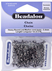 3.3 Feet Shiny Gunmetal Heavy Round Link Rolo Chain ~ 4.5x5.4mm Links