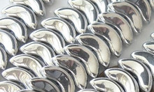 25 Silver Czech Pressed Glass Beads  ~ 15x6x5mm  Angel Wings